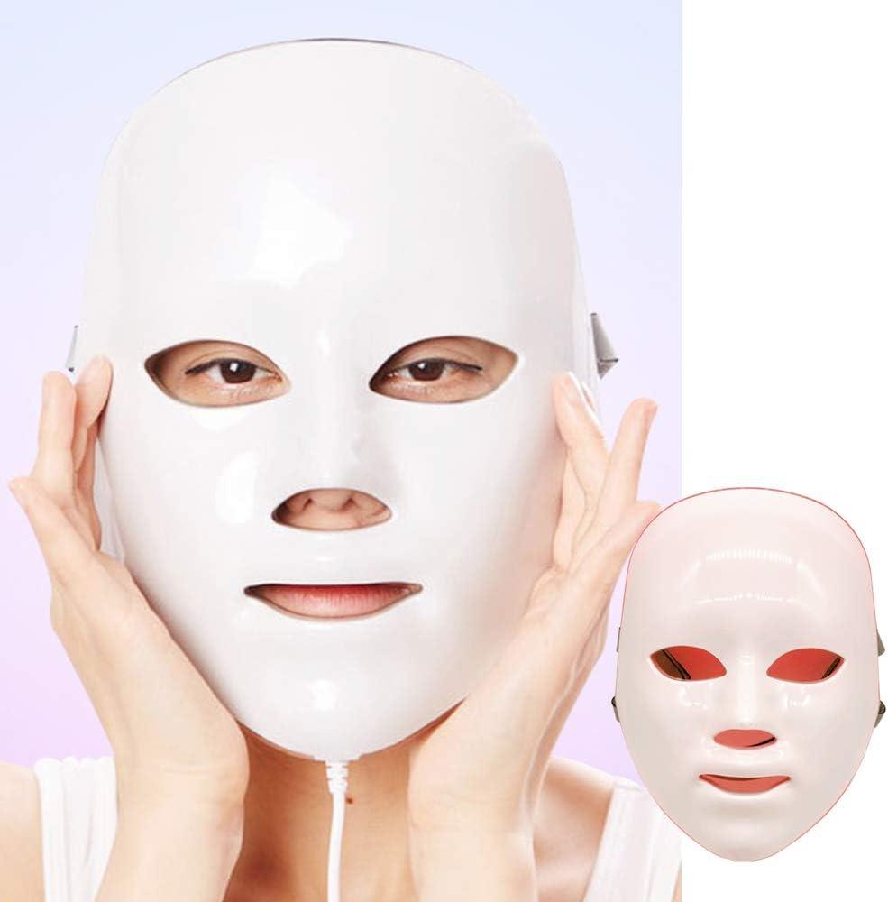 Máscara facial con luz LED para fototerapia con cuello, cuidado de la belleza con 7 colores