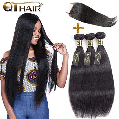 QTHAIR 10A Brazilian Virgin Hair Straight Human Hair 3 Bundles with Lace Closure(18