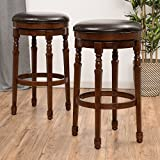 Christopher Knight Home 296623 Paxx Chocolate Brown Bycast Leather Barstools (Set of 2) For Sale