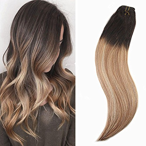 Ugeat 20inch Full Head Clip in Hair Extensions Black #1B Fad