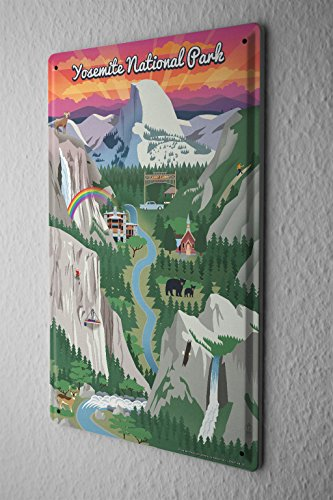 Tin Sign Holiday Travel Agency Yosemite by LEOTIE