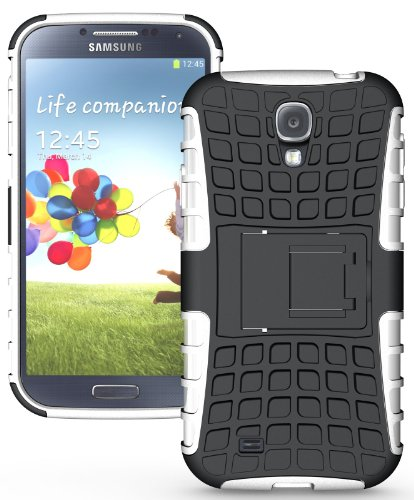 (NAKEDCELLPHONE WHITE GRENADE RUGGED TPU SKIN HARD CASE COVER STAND FOR SAMSUNG GALAXY S4 S 4 IV (Sprint L720, Verizon i545, Tmobile m919, MetroPCS M919N, US Cellular R970, AT&T i337, Cricket R970C))