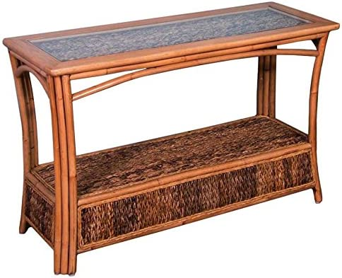 Alexander Sheridan Panama Sofa Table in Antique Honey Finish with Glass
