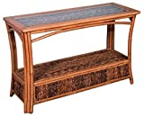 Cheap Alexander & Sheridan PAN023-AH Panama Sofa Table in Antique Honey Finish with Glass