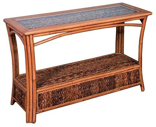 Alexander & Sheridan PAN023-AH Panama Sofa Table in Antique Honey Finish with Glass