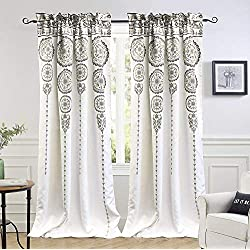 "DriftAway Taylor Moroccan Cascading Medallion/Floral Pattern Room Darkening Window Curtains, Rod Pocket, Set of Two Panels, Each Size 52""x84""+2"" Header (Yellow/Gray)"