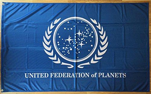Star Trek United Federation Of Planets | Outdoor Decorative Flag By Östberg & Sørensen Flag Company | Weather Resistant High Density Polyester | Rich, UV Resistant Colors | 3x5ft / 90x150cm Size (Star Trek United Federation Of Planets Blue Flag)