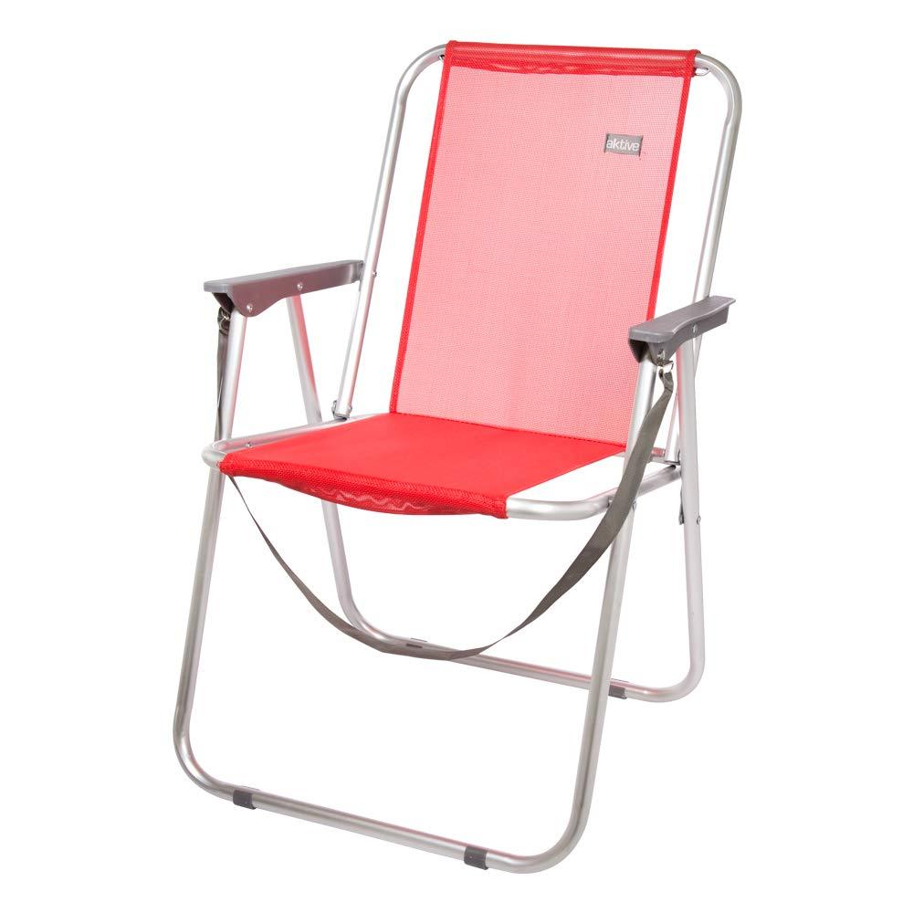 AKTIVE 53967 Silla Plegable Fija Aluminio Beach, 47 x 54 x 75 cm, Rojo