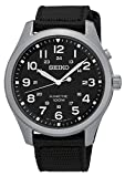 Seiko Kinetic SKA727 Black Dial Black Canvas Band Men's Watch