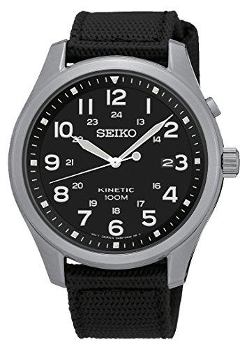 Seiko Kinetic SKA727 Black Dial Black Canvas Band Men's Watch
