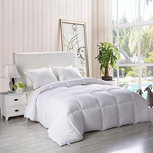 Utopia Bedding Down Alternative Comforter - All Season Comforter - Plush Siliconized Fiberfill Duvet Insert - Box Stitched (White, Queen)