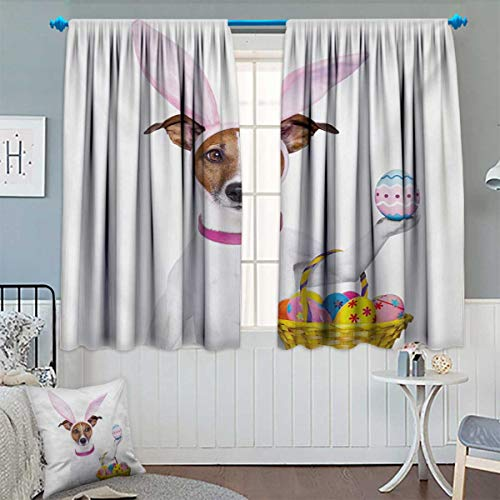 Anhounine Easter,Blackout Curtain,Dog Dressed up as Easter Bunny Holding a Basket of Eggs Funny Animal Illustration,Decor Curtains by,Multicolor,W52 x L63 inch -