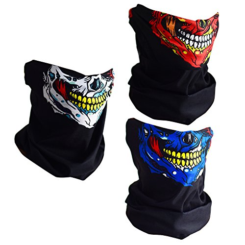 CIKIShield Couples Seamless Skull Face Tube Mask Black (3pcs-Color Set-N)]()