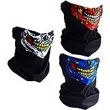 CIKIShield Couples Seamless Skull Face Tube Mask Black (3pcs-Color Set-N)