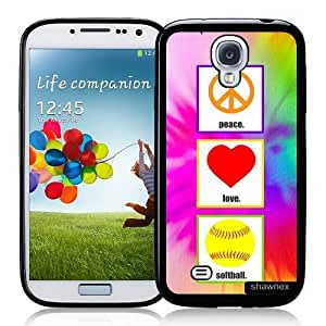 Cool Painting Galaxy S4 Case - S IV Case - Shawnex Love Peace Softball Samsung Galaxy i9500 Case Snap On Case