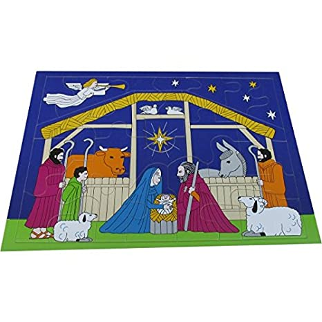 Wooden Nativity Scene 31 Pieces Jigsaw Puzzle