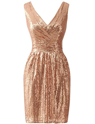 ess Short Bridesmaid Dresses Sequin Cocktail Party Dress Simple Prom Gown ()