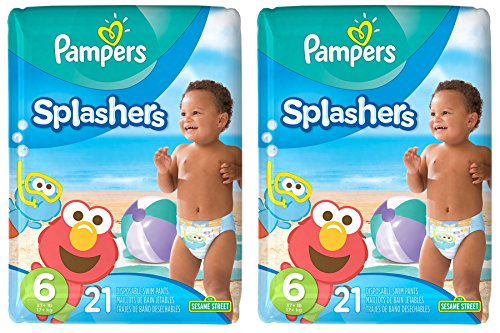Pampers Splashers Disposable Swim Diapers, 21 Disposable pants each, size 6, 2 Pack