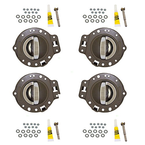 4 Piece Set of Inside Interior Door Khaki Housing with Chrome Handles Replacement for Jeep SUV 1PS47BD1AA 1PS46BD1AA - Inside Handle Light Door