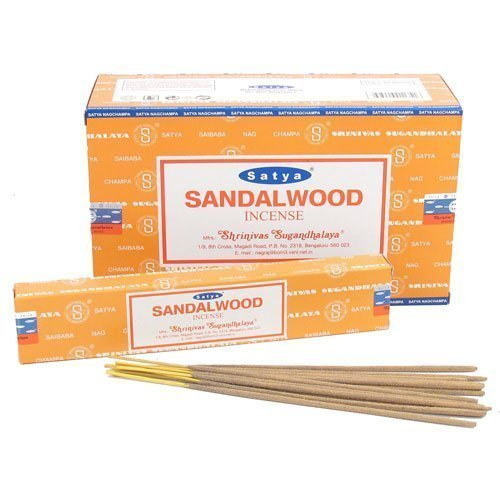 Sandalwood Incense Sticks (Satya Nag Champa Sandalwood Incense Sticks - Box 12)