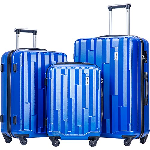 Merax Luggage set 3 piece luggages Suitcase with TSA lock (Blue)