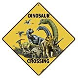 "Dinosaur Crossing 12"" X 12"" Aluminum Sign"