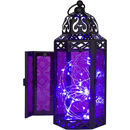 Purple Glass Moroccan Style Lantern with Optional Matching LED Fairy String (Fairy Accent Lamp)