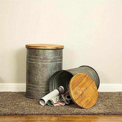 Glitzhome Rustic Storage Bins Metal Stool Ottoman Seat with Round Wood Lid Set of 2