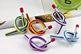 RIANZ Set of 10 Long Soft Flexible Bendable Pencils with Eraser Fancy Stationery Fun Novelty Return Gift Set