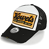 ililily Howels Distressed Vintage Embroidery Baseball Cap Snapback Trucker Hat, Black