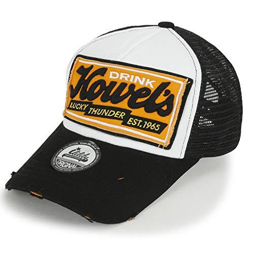 outlet store fe82f 6b4c3 ililily Howels Distressed Vintage Embroidery Baseball Cap Snapback Trucker  Hat, Black