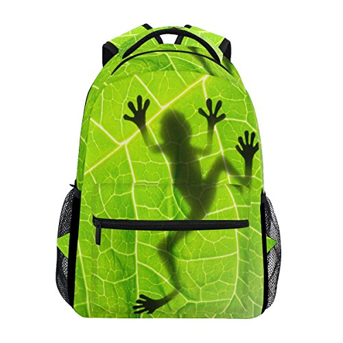 - TropicalLife Amazon Rainforests Green Tree Frog Backpacks School Bookbag Shoulder Backpack Hiking Travel Daypack Casual Bags