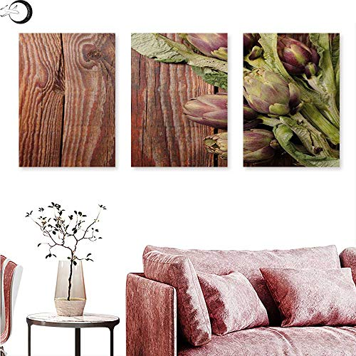 Mannwarehouse Artichoke Canvas Prints Wall Art Freshly Picked Vegetables Healthy Vegan Option Going Green Wall Panel Art Redwood Dried Rose and Fern Green W 24