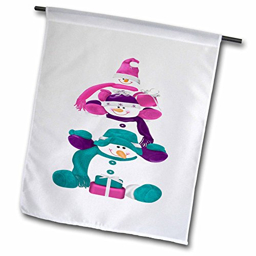 3dRose Anne Marie Baugh - Illustrations - Cute Three Stacked Snowmen In Pink, Purple, And Aqua Illustration - 18 x 27 inch Garden Flag (Stacked Presents)