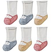 Epeius Baby Girls Newborn Mary Jane Socks for 0-6 Months,Shoe Look,Super Soft Cotton Terry Bootie Socks(Pack of 6),White and Pink/Blue/Yellow