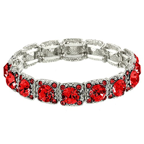 Red Stretch Bracelet - Falari Crystal Stretch Bracelet Wedding Bracelet (Red) B1534-LS