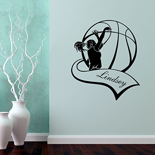 Aiwall 4041 Basketball Vinyl Wall Decal Personalized Girl Name Basketball  Game Sport Mural Art Basketball Wall Sticker Bedroom Home Decor