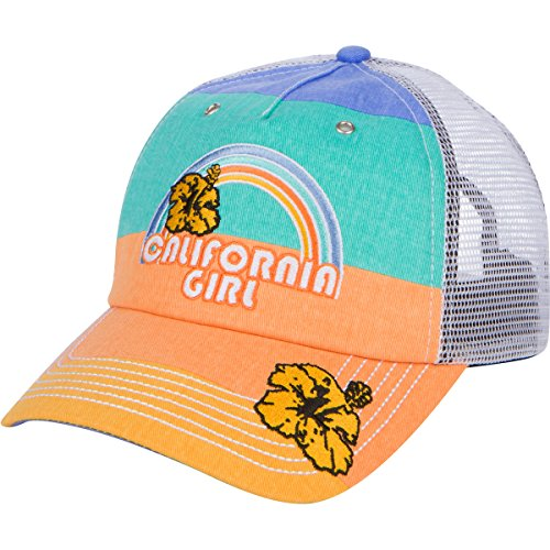 California Girl Embroidered Trucker Hat - Rainbow Stripe