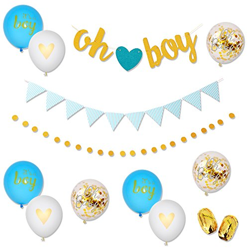 Baby Shower Decorations for Boys Blue Gold White Decor Banners [Oh Boy, Triangle] Polka Dot Garland & 9PC Balloons [Blue, Confetti, White, Gold] Set Glittery Baby Birthday Party