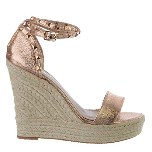 Miss Image UK Ladies Womens New High Heel Wedges Espadrilles Studded Ankle Strap Sandals Shoes Size Rose Gold Faux Leather txJkA