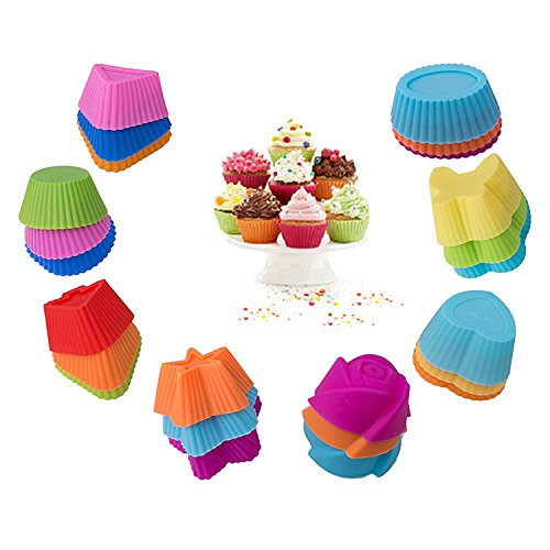 Alolli Silicone Cupcake Liners - 24 Pack Baking Cups- Reusable & Nonstick Muffin Molds