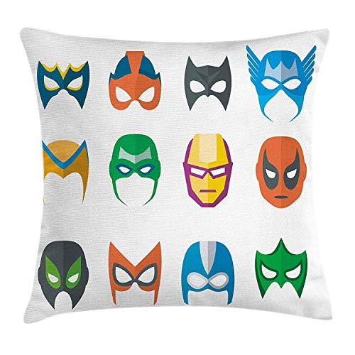weiweimai Superhero Throw Pillow Cushion Cover, Hero Mask Female Male Costume Power Justice People Fashion Icons Kids Display, Decorative Square Accent Pillow Case, Multicolor 16x24