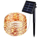 J YJ Solar String Lights, 40FT Fairy Lights, Indoor/Outdoor Waterproof Copper Wire Lights for Gardens, Gazebo, Roof, Home, Dancing, Yard, Party, Wedding Decorative (Warm White)