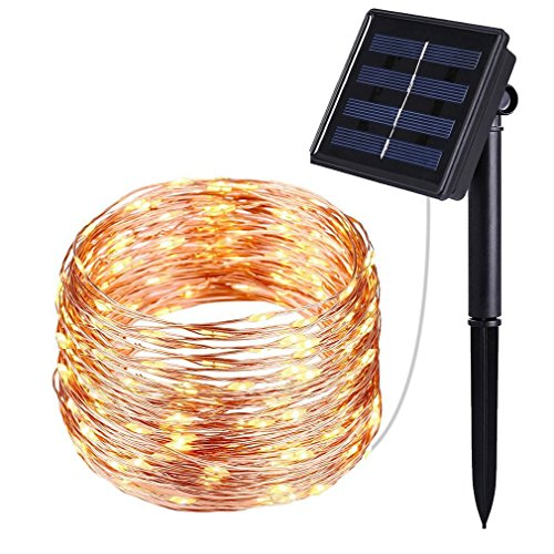 Copper Gazebo - Solar String Lights, 40FT Starry String Lights, Indoor/Outdoor Waterproof Copper Wire Lights for Gardens, Gazebo, Roof, Home, Dancing, Yard, Party, Wedding Decorative (Warm White)