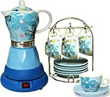 Electric Espresso Coffee Maker and Matching Demitasse Set of 6 Cups and 6 Saucers