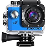 4K Action Camera, SOOCOO C30 Sports Camera 20MP 2.0 Inch Waterproof Diving Camera with 2x1350mAh Batteries and 18 Accessories Kit Included - Blue + Wifi (Micro SD Card Not Included)