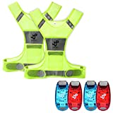 JQP Sports 2 Running Vest and LED Safety Light Sets (4-Pack with Clip and 3 Bonuses), Waterproof Running Light and Reflective Vest, Suitable for Jogging, Cycling, Biking, Dog Walking, Strobe Light