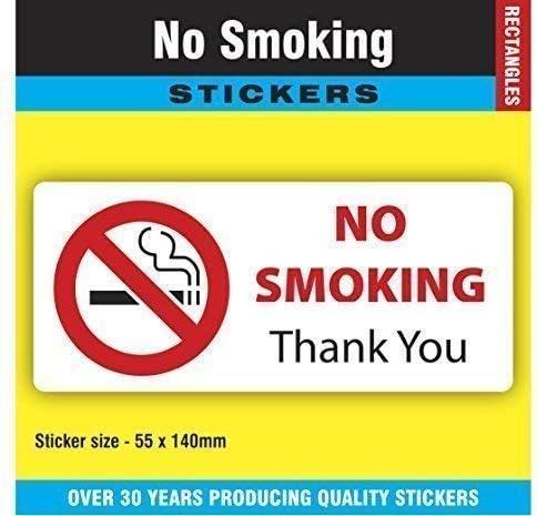 No Smoking Adesivi//Etichette Confezione 12-55 x 140mm Rettangolare