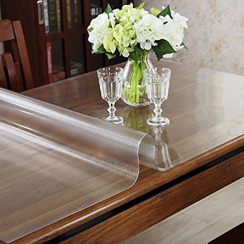 OstepDecor Custom 1.5mm Thick Frosted Plastic Table Cover Protector Desk Pad for Glass Top Coffee End Dining Table Multi-Size | Rectangular 35.4 x 60 Inches (Short Round Table)
