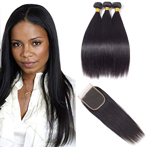 - Brazilian Virgin Straight Hair 3 Bundles with Closure,Unprocessed Human Hair Bundles, 4x4 Lace Closure with Bundles (16 18 20with14, Natural Color)